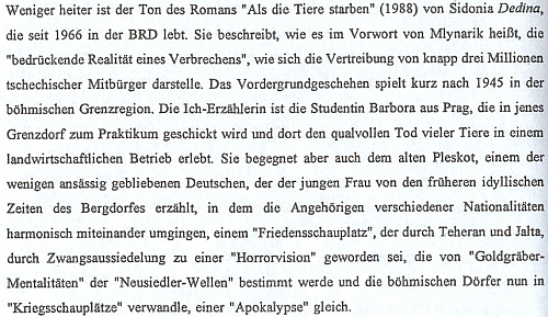"""Pasáž o jejím románu """"Als die Tiere starben"""" v učebním materiálu (1996) Západočeské univerzity k teorii, dějinám a didaktice německé literatury pro děti a mládež"""