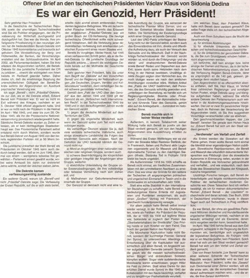 ejí otevřený dopis tehdejšímu prezidentu Klausovi z podzimu roku 200
