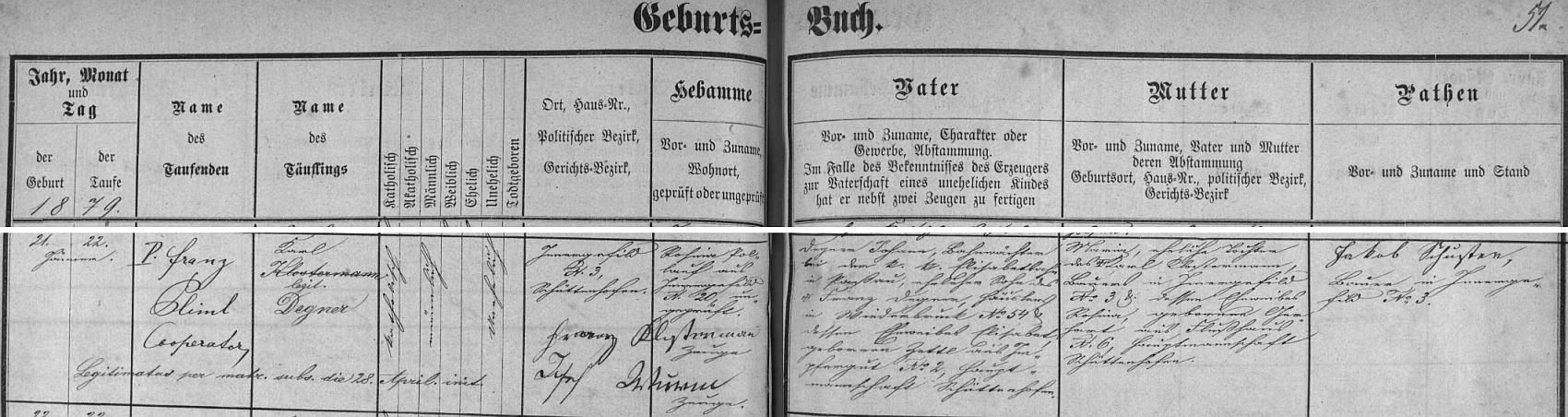 Záznam kvildské křestní matriky o jeho narození na Horské Kvildě čp. 3 s přípisem o změně příjmení z Klostermann na Degner následkem matčina sňatku s Johannem Degnerem