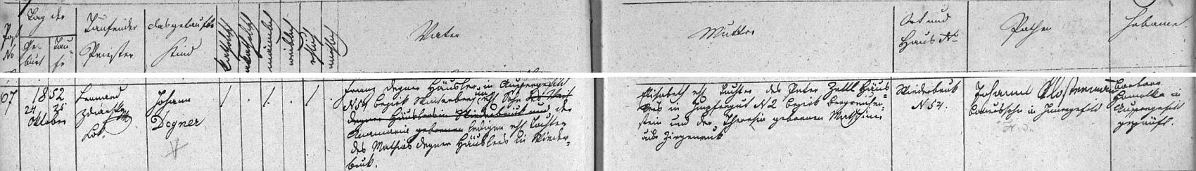 Záznam kvildské křestní matriky o narození jeho otce Johanna Degnera na Vydřím Mostě čp. 54