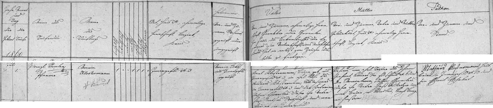 Záznam kvildské křestní matriky o narození matčině na Horské Kvildě čp. 3