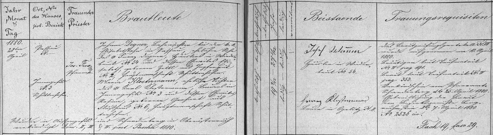 Záznam kvildské oddací matriky o svatbě Johanna Degnera s Marií, roz. Klostermannovou