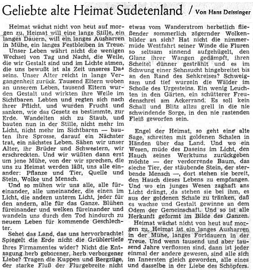 Óda na domov v Sudetendeutsche Zeitung z dubna 1953