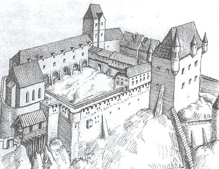 Hrad v Linci, jak vyhlížel kdysi podle kresby Oskara Sachspergera zroku 1942