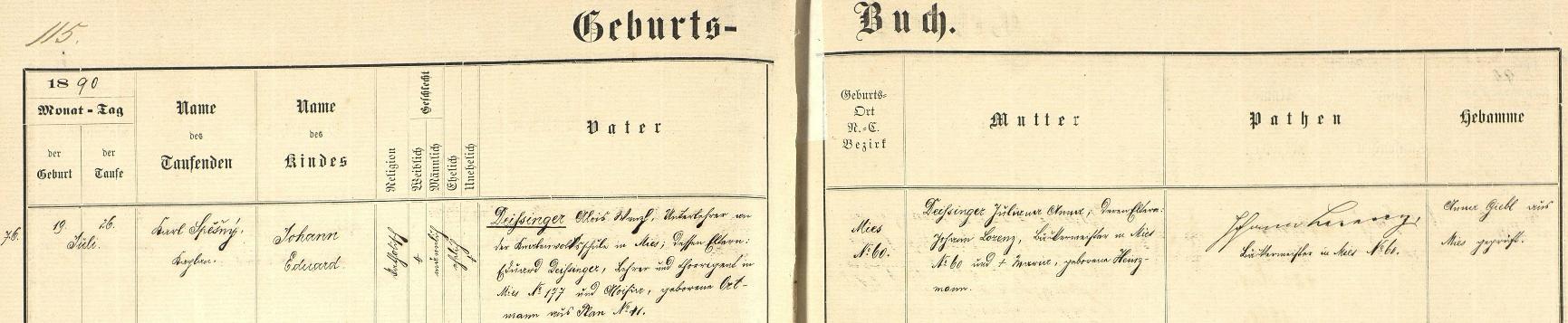 Záznam stříbrské křestní matriky o jeho zdejším narození dne 19. července roku 1890 a křtu sedm dnů nato kaplanem Karlem Spěšným v kostele Všech svatých na jméno Johann Eduard Deissinger - otec dítěte Alois Deissínger byl tehdy ve Stříbře podučitelem na zdejší chlapecké obecné škole a jeho rodiči byli Eduard Deissinger, učitel aregenschori ve Stříbře čp. 177, s manželkou Aloisií, roz. Ortmannovou původem z Plané (Plan) čp. 41, matka dítěte Juliana Anna Deissingerová byla pak dcerou Johanna Lorenze, mistra pekařského ve Stříbře čp. 60 (v tom domě matčiných rodičů se chlapec narodil) Johanna Lorenze, podepsaného v záznamu jako novorozencův kmotr, a jeho ženy Marie, roz. Heinzmannové
