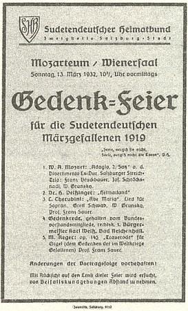 Při této vzpomínce na padlé sudetské Němce z března 1919, konané v Salcburku k výročí oněch událostí, zazněla i jeho báseň Heimatland
