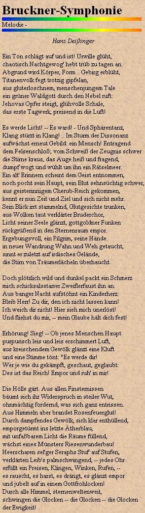 Webová stránka textů německých písní s jeho verši o hudbě Antona Brucknera