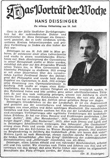 K jeho třiašedesátinám přinesl ústřední list krajanského sdružení medailon stříbrského autora ve výrazné úpravě