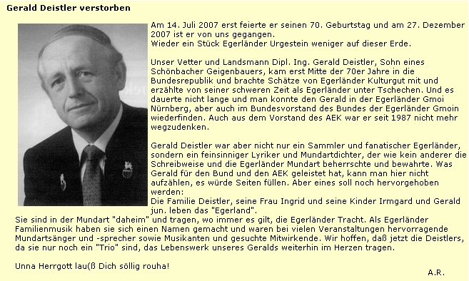 Nekrolog na webových stránkách Svazu chebských Němců