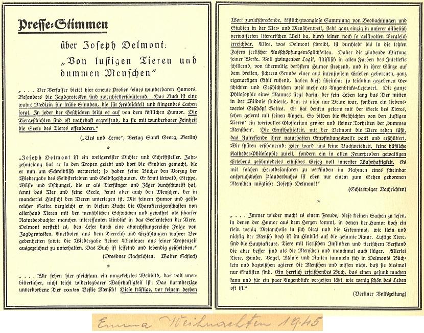 Hlasy tisku o jedné jeho knize, kterou dostala jakási paní či slečna Emma k Vánocům roku 1945