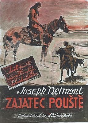 Obálka a skica k obálce malíře Zdeňka Buriana k Delmontovým knihám v nakladatelství J.R. Vilímek (1928)