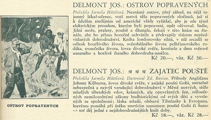 Anonce jeho dvou knih v katalogu (1932) nakladatelství J.R. Vilímek, z nichž jednu ilustroval Zdeněk Burian, obě pak přeložila Jarmila Hüttlová