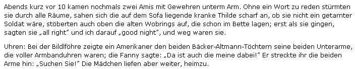 """Z deníkových záznamů Josefa Blaua, vystavených na webových stránkách Zentrum gegen Vertreibungen, pochází i tento úryvek, líčící příchod Američanů do Nýrska a setkání jednoho z nich s tehdy sedmadvacetiletou Fanny """"pekařových"""""""