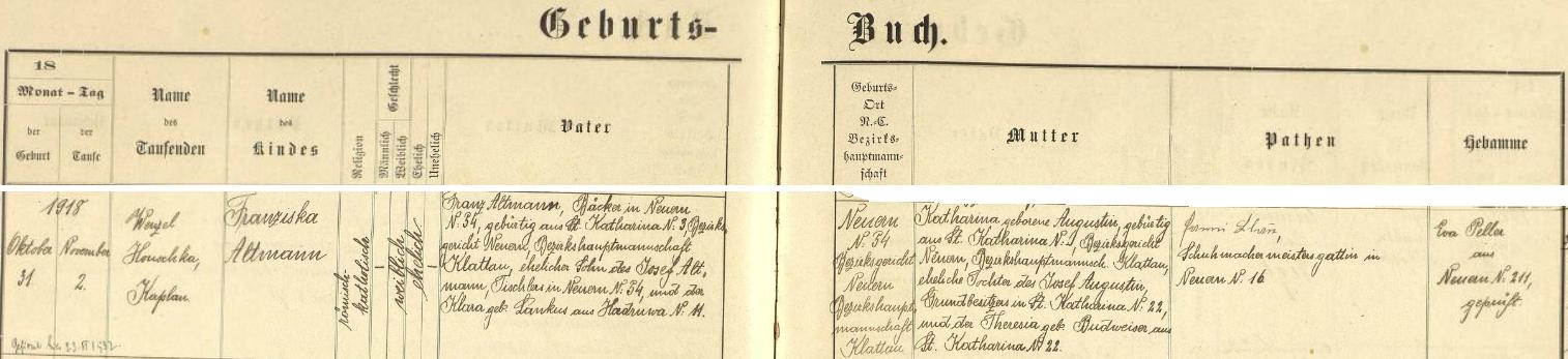 Záznam v nýrské křestní matrice o jejím narození v Nýrsku čp. 34 dne 31. října 1918 a následném křtu 2. listopadu téhož roku, který v kostele sv. Tomáše Apoštola vykonal kaplan Wenzel Houschka, svědčí i o tom, že otec dítěte, nýrský pekař Franz Altmann, narozený ve Svaté Kateřině čp. 3, jinak bratr matky Franze Blaua a jeho kmotr, byl synem nýrského truhláře Josefa Altmanna a jaho ženy Klary, roz. Lankusové z Hadravy (Hadruwa) čp. 11, že dívčina matka Katharina, narozená ve Svaté Kateřině, byla dcerou majitele tamního gruntu čp. 22 Josefa Augustina a jeho ženy Theresie, roz. Budweiserové rovněž ze Svaté Kateřiny, posléze že kmotřičkou dítěte byla při jeho křtu zde ipodepsaná Fanni (Franziska) Blauová, choť mista obuvnického v Nýrsku čp. 16 Eduarda Blaua a tedy matka už zmíněného Franze Blaua