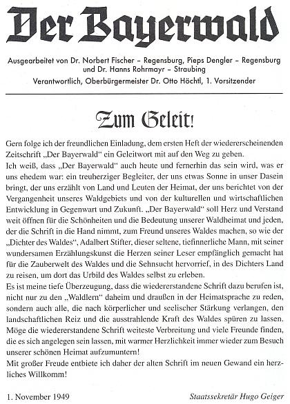 Znovuobnovený Der Bayerwald i s jeho jménem v záhlaví, jak vyšel 1. listopadu roku 1949