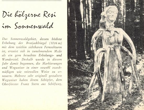 """""""Dřevěná Resi"""", originální rozcestník v oblasti Sonnenwaldu v Bavorském lese, kterou zmiňuje Pieps Dengler ve své úvodní textové ukázce"""