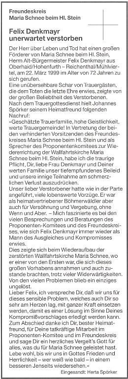 Parte se smutečním projevem Johannese Spörkera