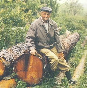Na snímku ze srpna 1993 sedí Felix Denkmayr na padlém modřínu, který byl zasazen v roce 1913 a obnášel dva plnometry dřeva, což by stačilo k ročnímu otopu rodinného domu