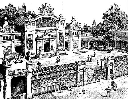Urania Theater ve Vídni, kde Ludwig Deutsch působil po odchodu z Hořic na Šumavě, na vyobrazení z roku 1898