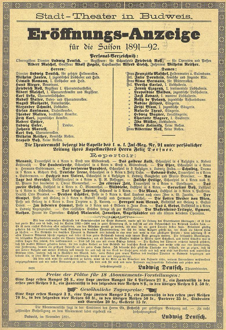 Zahajovací oznámení českobudějovické divadelní sezóny 1891-1892