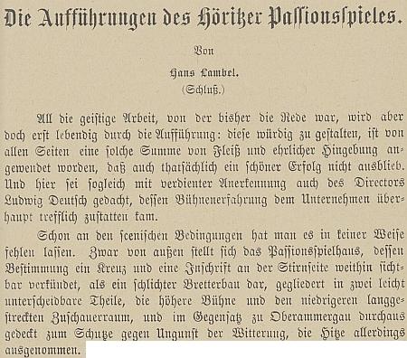 Část textu Hanse Lambela o jeho inscenaci hořických pašijových her