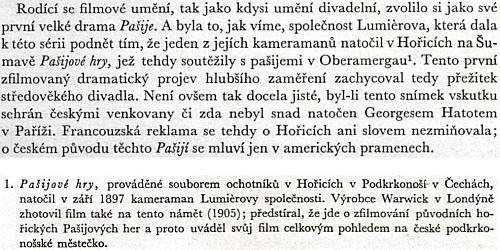 Neuvěřitelná chyba autorů českých poznámek k Dějinám světového filmu od Georgese Sadoula, který má v textu správně Hořice na Šumavě