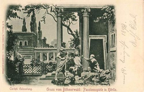 Pohlednice českobudějovického knihkupce a vydavatele L. E. Hansena z konce 19. století zachycují zřejmě výjevy z této inscenace