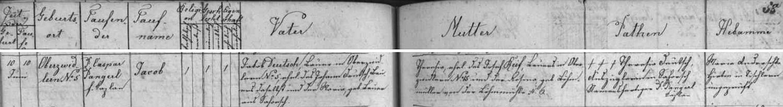 Záznam o jeho narození v křestní matrice farní obce Svéraz
