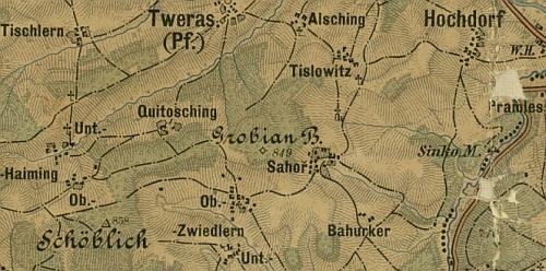 Obce jižně od Svérazi včetně Horní (a Dolní) Světlé a Záhoří na staré mapě