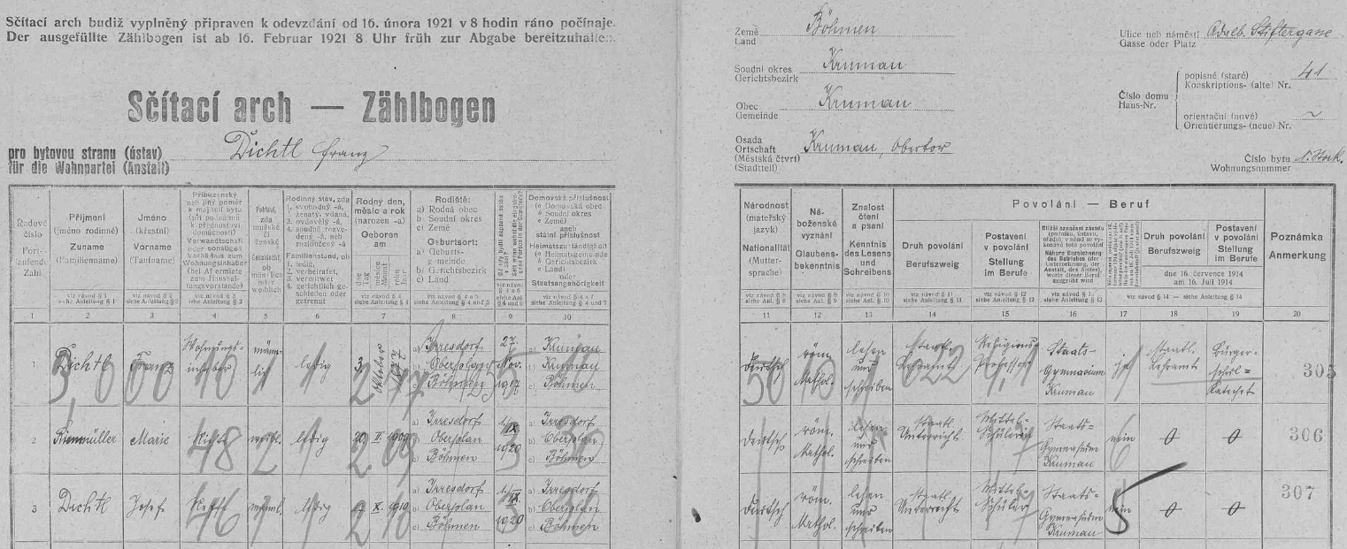 """Arch sčítání lidu z roku 1921 pro dům čp.41 v dnešní českokrumlovské Rooseveltově ulici (tehdy """"Adalbert Stifter-Gasse"""") dosvědčuje, že tu s ním tehdy bydlila neteř Marie Rienmüllerová a spolu s ní i jeho synovec Josef Dichtl"""