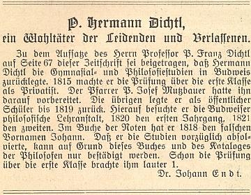 Připomínka Dichtlových budějovických studií, jak jí do měsíčníku Waldheimat přispěl Johann Endt