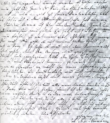 Část dopisu Jana Nepomuka Neumanna P. Hermannu Dichtlovi zNew Yorku s datem 27. června 1836