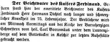 Zpráva o jeho úmrtí v Prager Tagblatt připomíná, že byl zpovědníkem císařovým