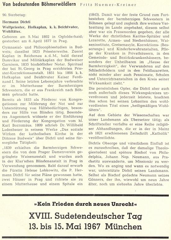 K 90. výročí jeho úmrtí vzpomněl Dichtla na stránkách krajanského měsíčníku Franz Huemer Kreiner