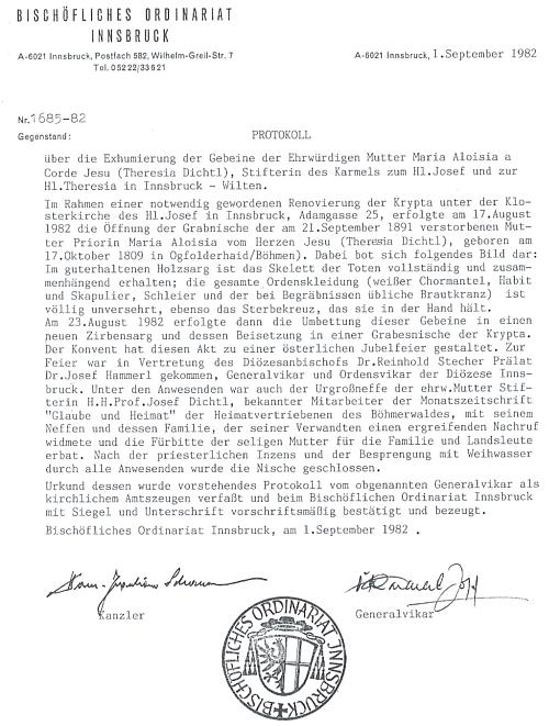 Protokol o exhumaci jejích ostatků z roku 1982