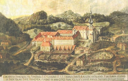 Klášter Pivoň v dobách své slávy na olejomalbě z roku 1710
