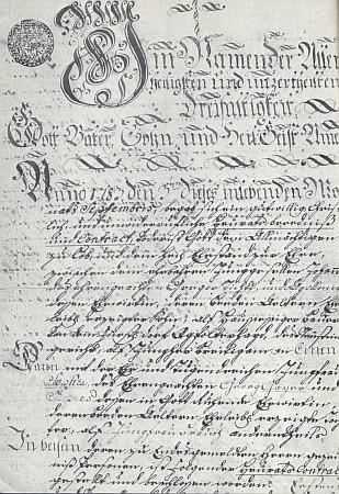 """Záhlaví """"svatební smlouvy"""". kterou se Dichtlův prapraděd přiženil roku 1783 zJablonce na Josefmhaus do Polečnice"""