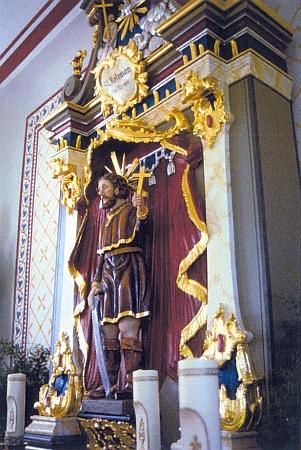 Zpodobení svatého poustevníka Kolomana na oltáři jemu zasvěcené kaple v bavorském Exenbachu při obci Grainet