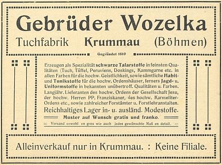 Inzerát krumlovské firmy bratří Wozelků v šumavském kalendáři na rok 1915 prozrazuje, jak bohatým odběratelem byla především církev