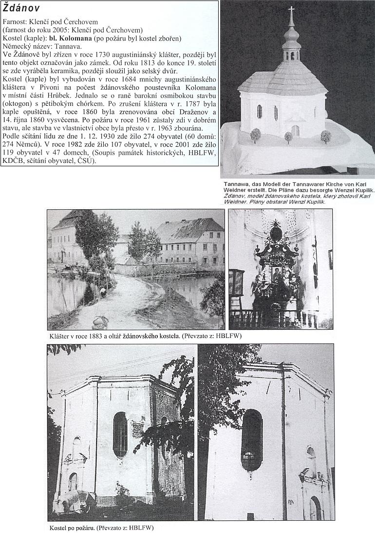 Ždánov a jeho kostel blahoslaveného Kolomana, zbořený v roce 1963