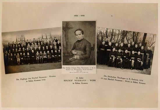 """Pohlednice k 10. výročí """"Díla biskupa Neumanna"""" v Českém Krumlově 1922-1932"""