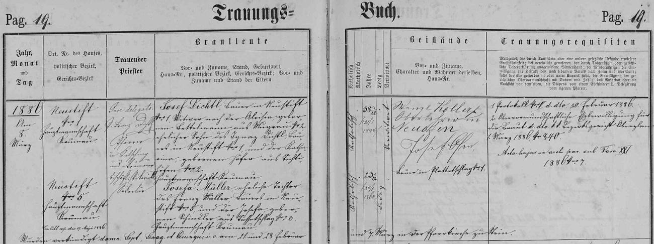 Josef Dichtl, sedlák v Polečnici čp. 1, narozený tu 21. ledna roku 1848 jako syn Ignaze Dichtla a Kathariny, roz. Hoferové z Dětochova (Tichtihöfen) čp. 2, vdovec po Aloisii, roz. Bettelmannové z Mokré čp. 2, si podle záznamu oddací matriky farní obce Polná na Šumavě bere ve zdejším kostele sv. Martina 8. března 1886 za ženu Josefu Müllerovou, narozenou 20. ledna 1860 v Polečnici, manželskou dceru sedláka v Polečnici čp. 5 Franze Müllera aJosefy, roz. Schindlerové z Břevniště (Tussetschlag) čp. 3 - oddávajícím knězem byl jak vidno chvalšinský farář Franz Dichtl, rodem rovněž ze statku v Polečnici čp. 1