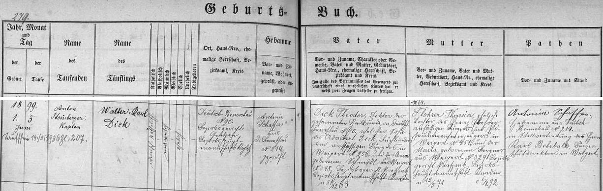 Walter Karl Dick, jak byl pokřtěn, se podle Knihy narozených farní obce Německý Benešov narodil zdejšímu lékaři Theodoru Dickovi (jeho otec Adalbert Dick byl knihvazačem a měšťanem ve Vejprtech, matka Anna, roz Schmidlová, pocházela rovněž z Vejprt) a jeho ženě Theresii, roz. Flohrerové, dceři Franze Flohrera, prýmkaře z Vejprt, a Marie, roz. Bergnerové, také z Vejprt, okres Kadaň, soudní okres Přísečnice