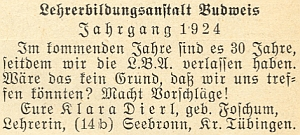 Její výzva k setkání absolventů německého učitelského ústavu ve vánočním čísle krajanského měsíčníku z roku 1953
