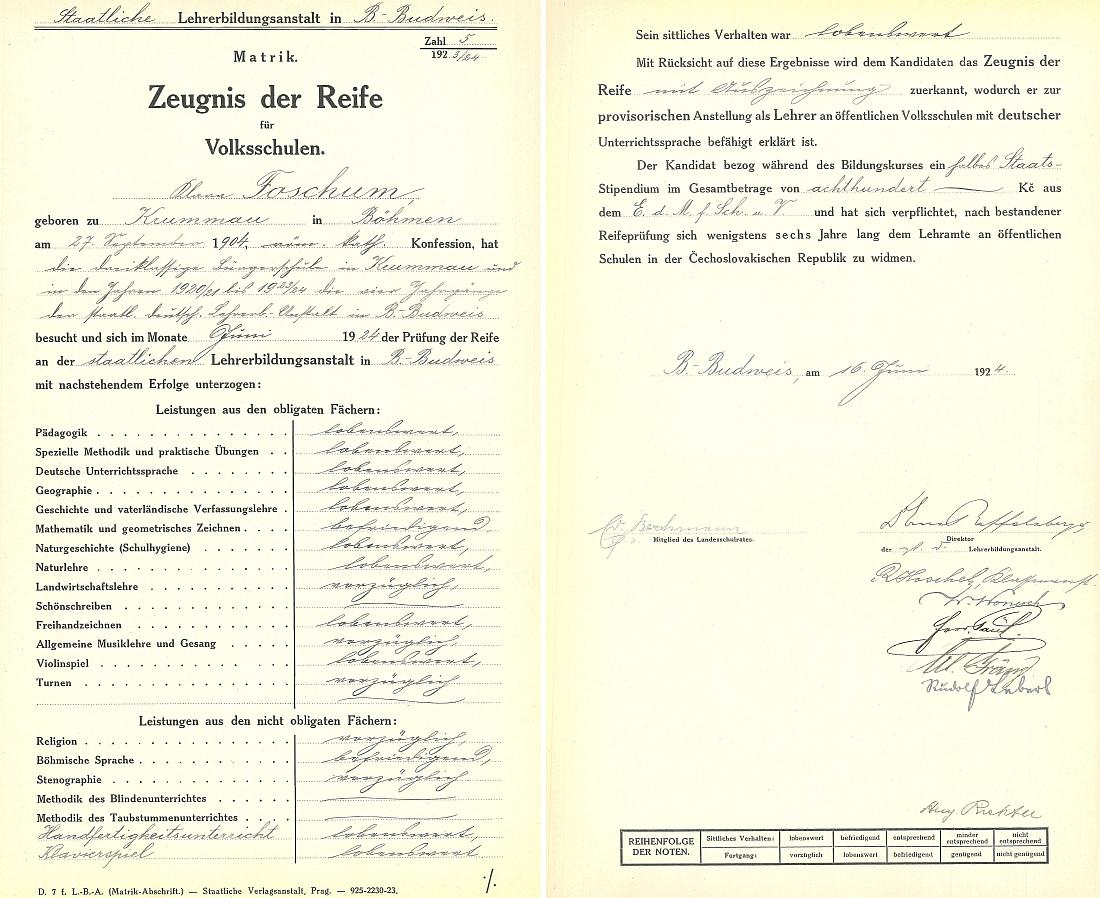 Záznam o jejím maturitním vysvědčení z českobudějovického učitelského ústavu v roce 1924 ve školní dokumentaci