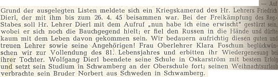 Zpráva o válečném osudu jejího muže a o ní na stránkách krajanského časopisu (jen to místní jméno na konci má znít Schramberg)