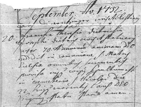 Záznam o úmrtí jeho první ženy v českobudějovické úmrtní matrice