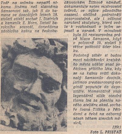 Samsonova tvář a krátký článek v Jihočeské pravdě z listopadu 1989, jen pár dní před počátkem sametové revoluce, jejíž demonstrace se vČeských Budějovicích odehrávaly právě na náměstí a řečníci stáli ukašny