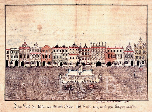 Kolorované kresbě Vojtěcha Vaváka z roku 1796 už kašna dominuje