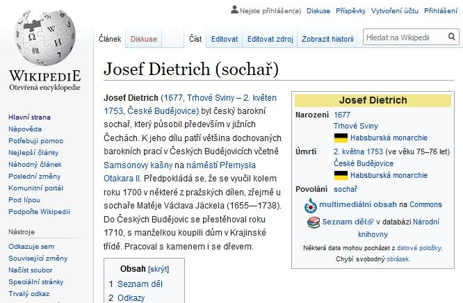 Jeho heslo na Wikipedii vypočítává jeho známá díla, zachycená i snímky (klikněte na náhled)